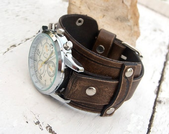 Mens Leather watch, Antique brown rustic leather Wrist Watch, Leather cuff watch,