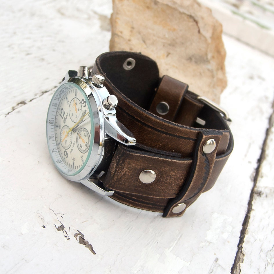 mens leather cuff mens leather watch antique brown rustic leather wrist watch leather cuff watch
