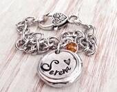 Pewter Hand Stamped Name Bracelet | mom bracelet | charm bracelet | personalized bracelet
