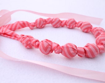 Fabric Statement Necklace, Chomping, Nursing, Teething Necklace - Coral Pink Stripe