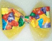 unique and handmade gummy bear hair bows, gummy bear  hair clips, duct tape hair bows, ready to ship,  children's hair bow,