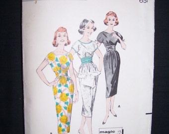 50% OFF SALE-Vintage 1950s Butterick 8503 Misses Sheath Dress Pattern Size 11 Bust 31.5