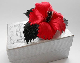 Red silk flower, Red fabric flower brooch, bridal brooch, flower for sash, bridesmaid hair clip, flower hair clip, mother of a bride brooch.