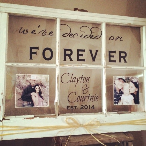 Old Window Wall Hanging Custom Family Name Established