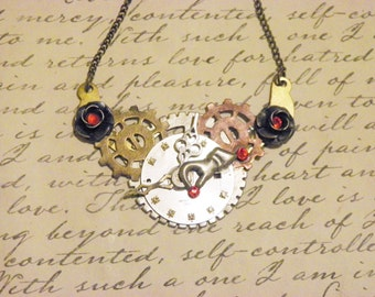 Steampunk Gears Watch Face and flower Necklace