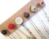 Jewelry Organizer / Wall Hooks in Red Accents / Hanging Jewelry Rack 64