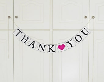FREE SHIPPING, Thank You banner, Bridal shower banner, Wedding banner, Engagement party decoration, Photo prop, Bachelorette party, Hot pink