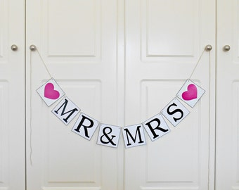 FREE SHIPPING, Mr & Mrs banner, Wedding Banner, Bachelorette party, Engagement party decoration, Reception sign decor, Photo prop, Hot pink