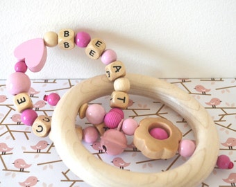 Personalized wooden teether, wood toy, baby rattle, rattle teether, custom gift, beaded toy, baby toy, baby gift, personalized baby gift