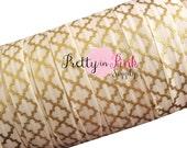 "Ivory with Gold METALLIC Quatrefoil Foil Print Elastic- Fold Over Elastic- FOE- Elastic by the Yard- Foldover Elastic- DIY- Hair ties- 5/8"""