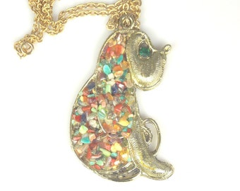 Large Dog Shaped Necklace Colored Glass Accents