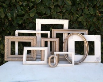 Wedding Frames, Set of 10, Antique White & Gold, Ornate Vintage Picture Frames, Baroque, White, Shabby Chic, Distressed Frame, (Los Angeles)