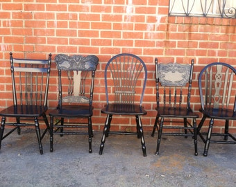 Black Vintage Dining Chairs, FREE SHIPPING,Mismatch, Restaurant Chairs, Farmhouse ,Spindle Chairs, Kitchen Chair (Los Angeles)