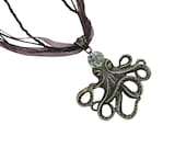 Cute Bronze Octopus on Ribbon Beaded Choker