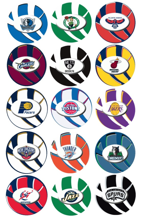 Printable NBA Team Logos One Inch Circles by ImageThis on Etsy