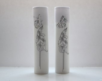 Tube vase made from English fine bone china with purple rim and a butterfly on a baroque illustration - illustrated ceramics - bud vase
