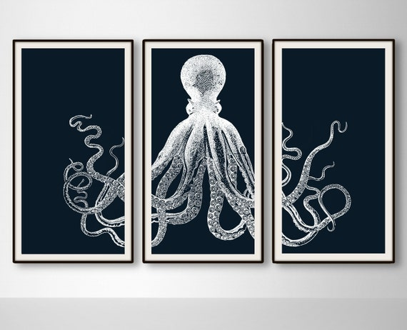 White octopus wall decor : Octopus triptych large panels prints by bysamantha