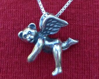 Teddy Bear-Angel-Bear--Flying Bear-Necklace-Sterling Silver