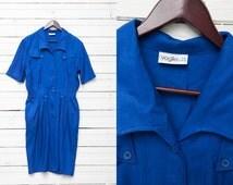 Blue Midi Short Sleeve Button Up Dress | Large Size L | Vintage Women Summer Gown