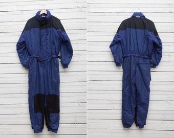 Vintage Ski Suit / 1980s A Dark Blue Skiwear Onepiece Snow Suit by Dutchy / Size M / Vintage Men Snowboarding Gear / Guys Skiing Suit