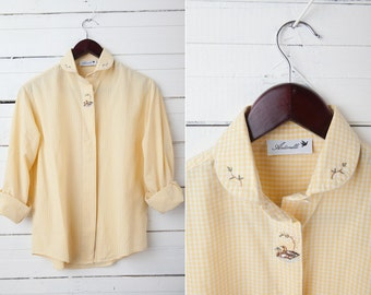 Vintage Yellow Shirt / Preppy Embroidered Blouse / 80s Yellow Checkered Long Sleeve Shirt /  Size Medium / Women Shirt