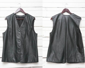 Leather Bikers Vest / 1980's Vintage Dark Green Leather Vest / Women Body Warmer / Size L Large / Rocker Vest /  Motorcycle Travel Vest