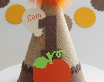 Lil' Burlap Pumpkin- Halloween - Fall - Thanksgiving Birthday Party Hat - Personalized