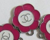 5 Pieces Enamel Pink FLOWER Charm Pendant