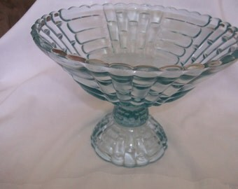 Jeanette Glass Floragold Footed Fruit Bowl Blue