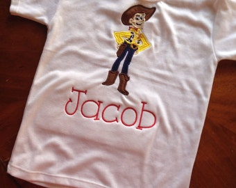 Embroidered inspired Woody Shirt - woody - inspried toy story - boys shirt - birthday shirt - cowboy