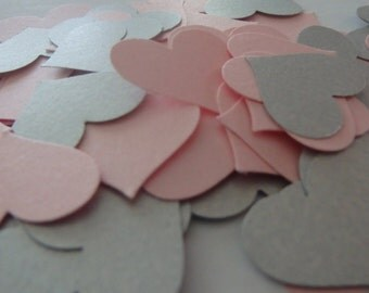 250 pink and silver textweight confetti hearts