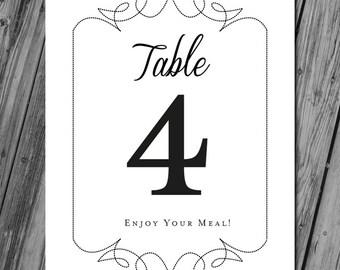 Printable Table Numbers, Wedding Table Numbers, Table Name Cards, Wedding Table Signs, Wedding Table Decor, Wedding Printables - Black/White