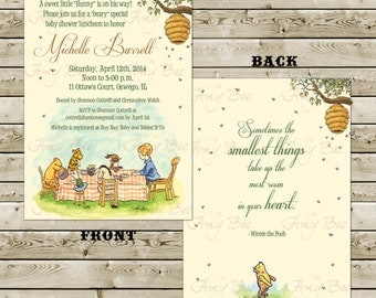 Two-side - Classic Pooh Baby Shower Invitation - Printable