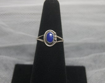 Delicate Sterling Silver Ring  with Lapis