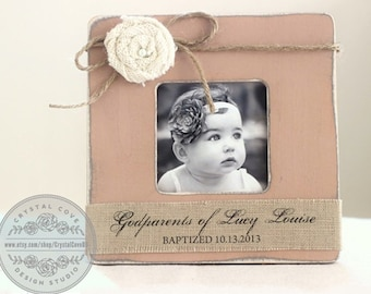 Baptism Christening Personalized Gift for Godparents Custom Personalized Burlap Picture Frame