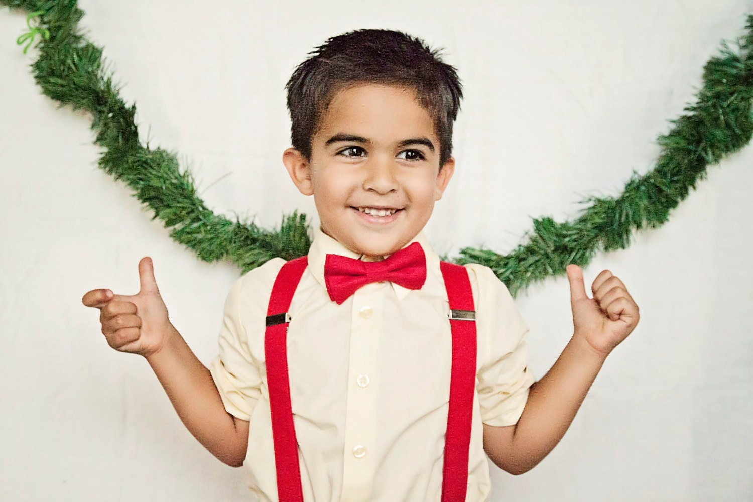 Boys christmas bow tie and suspenders toddler christmas