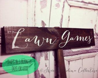 Lawn Games Wedding Sign, Wooden Wedding Sign, Wedding  WS-38