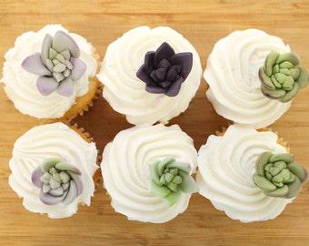 Edible Fondant Sugar Flower SUCCULENTS - 25 mini succulents,  for wedding cake, modern wedding