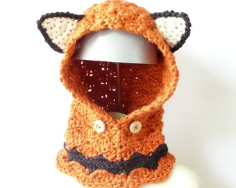 Free Crochet Fox Cowl Hat Pattern : Fox cowl Etsy