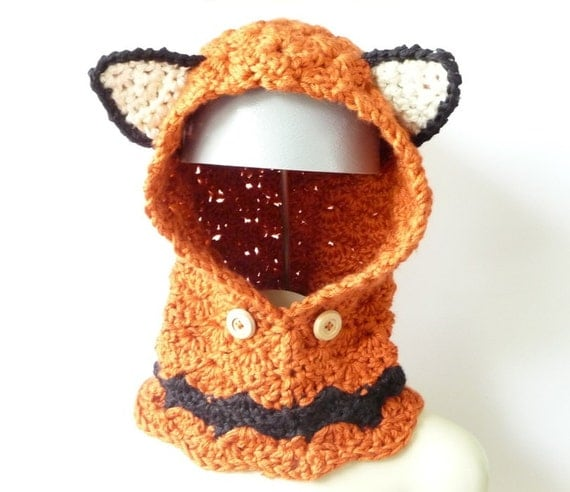 CROCHET PATTERN Fox Cowl Crochet Cowl Pattern Hooded Cowl Hooded Scarf Crochet Hood Womens Crochet Girls Crochet Winter Orange Fox Pattern