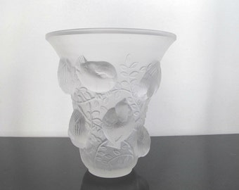 Rene Lalique St Francois French Clear and Frosted Art Glass Vase c1930 with Intricate Birds