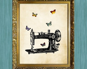 Sewing Machine Print  8 x 10  Sewing Art Print Sewing Machine with Butterflies HHP Original Design Print