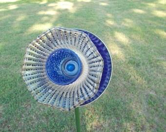Garden Glass Flower - Hand Painted - Suncatcher - Yard Art Sculpture - 'Indoor/Outdoor Free Spirit Décor' - (AGF12)