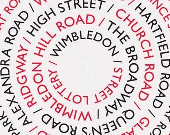 Wimbledon Street Lottery / Wimbledon Print, Wimbledon Poster, A3 Print, Wimbledon Streets, Wimbledon Roads, London Print, South London Print