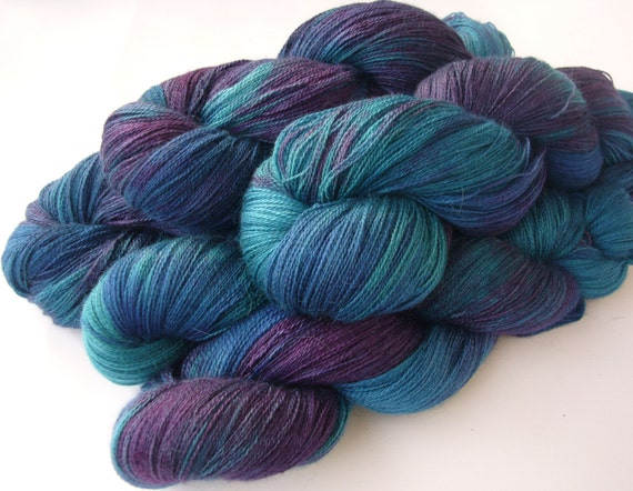 Yarn, lace weight, Hand dyed yarn - Baby Alpaca, silk and cashmere ...