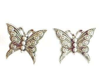 Butterfly Stud Earrings antique silver Butterfly post earrings Handmade Gift