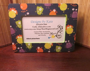 Handmade Halloween Monster Picture Frame 4 by 6 inch