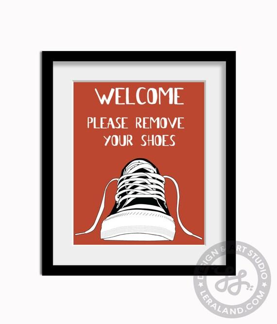 Bienvenue Veuillez Enlever Vos Chaussures Art Moderne Par