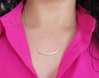Sterling Silver Tube Necklace, Sterling Silver Chain, Sterling Silver Bar Necklace, Tube Chain, Everyday Necklace