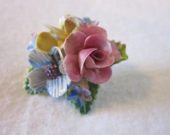 Vintage Crown Staffordshire Porcelain China Flower Brooch